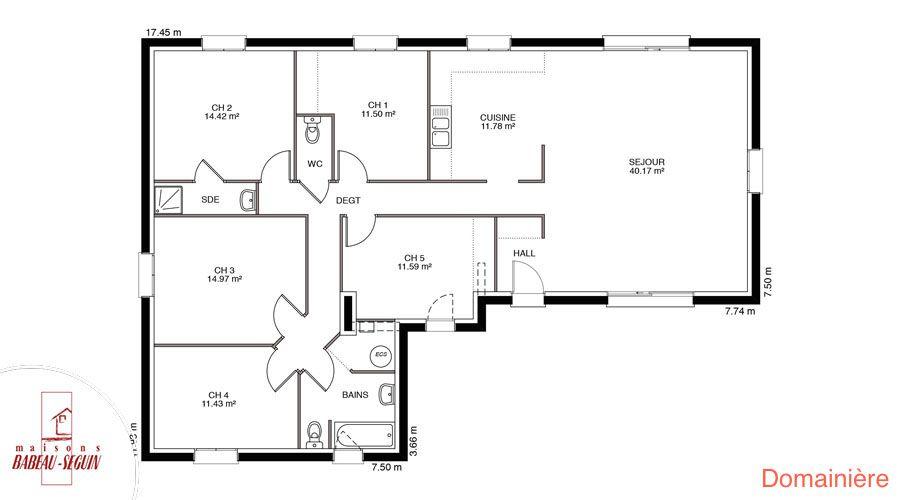 Domaini re mod le maison plain pied - Plan de maison en l avec 4 chambres ...