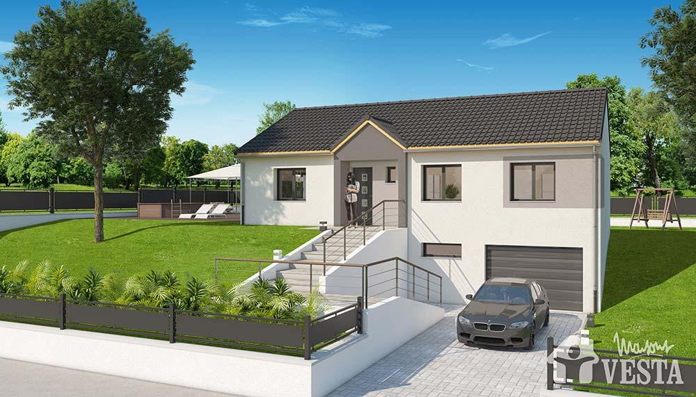 Modele de maison havana for Maison avec garage sous sol