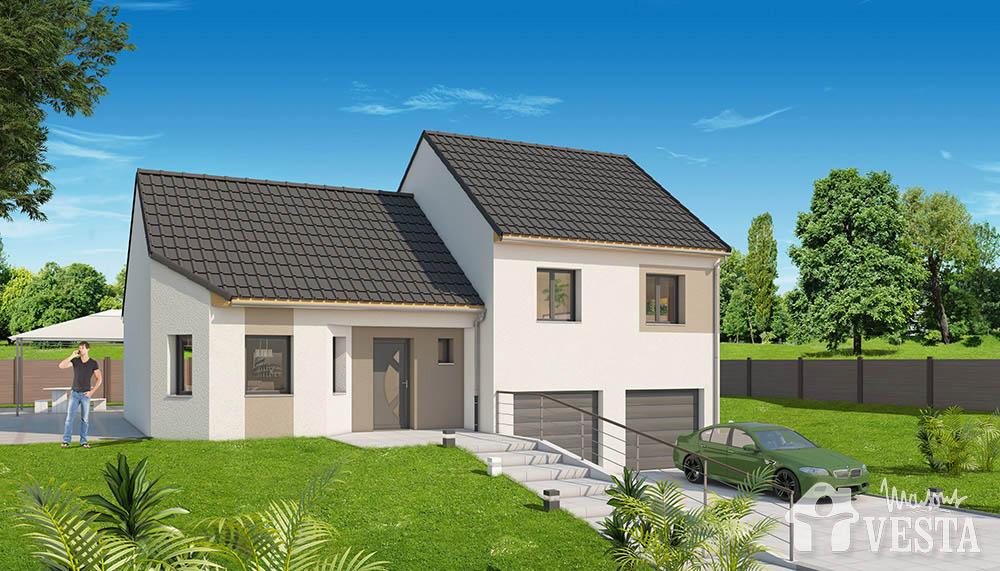 Modele de maison montana for Plan maison demi niveau