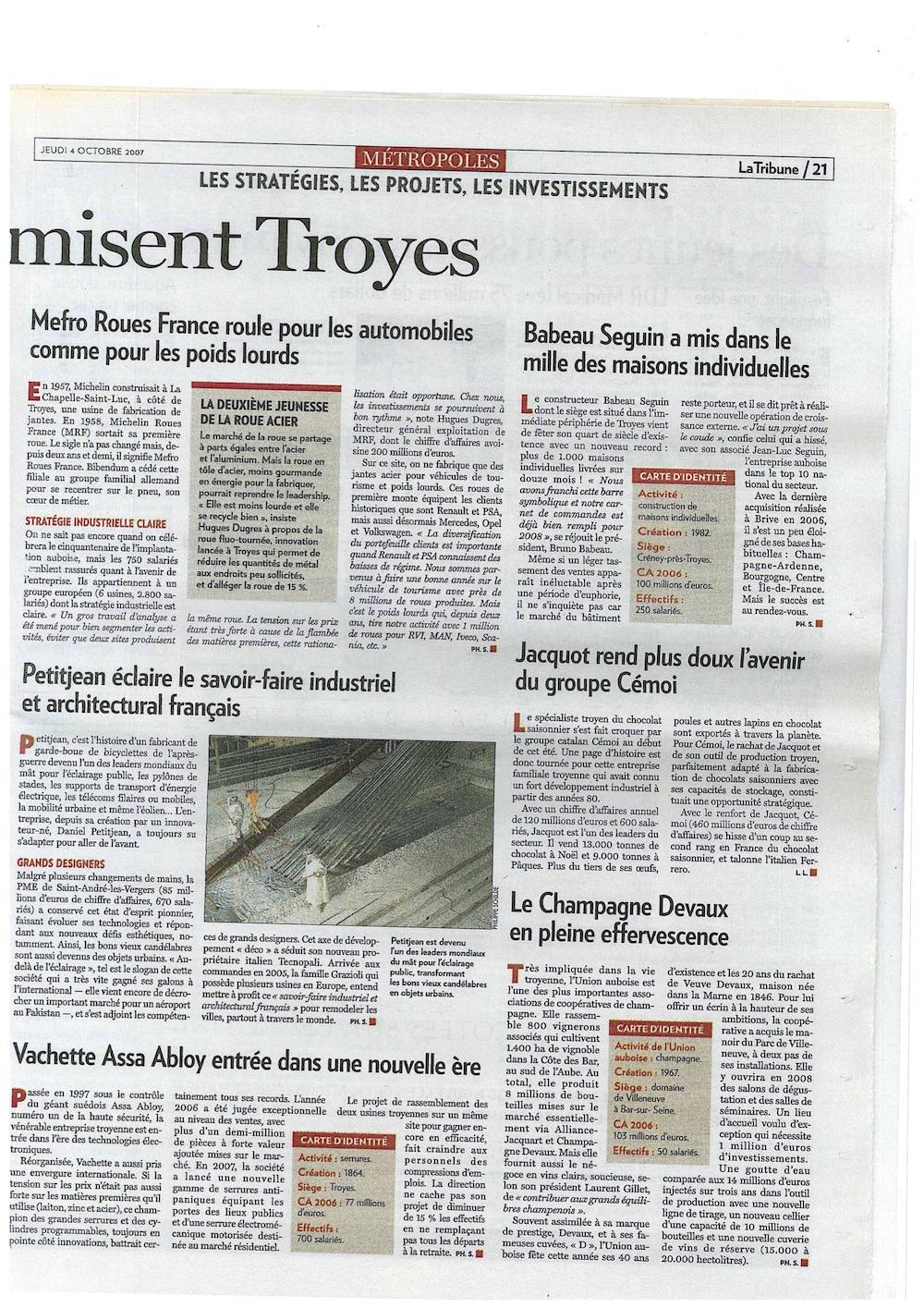 La Tribune 4 octobre 2007 100 maisons article entier
